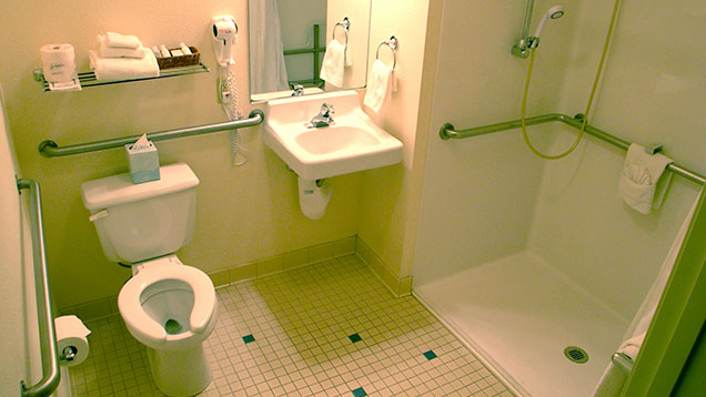 Wheelchair Accessible Bathroom at Pike's Waterfront Lodge